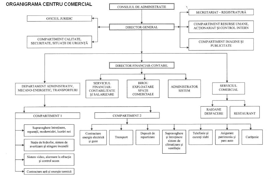 Model organigramă centru comercial