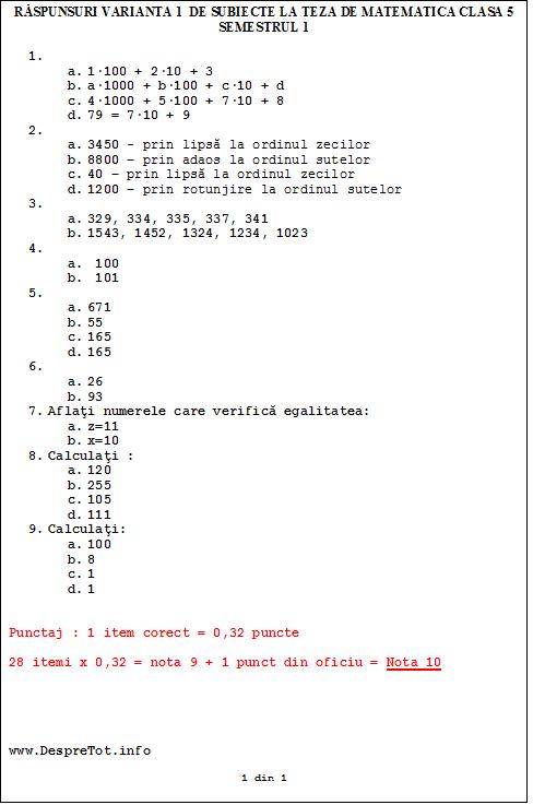 Raspunsuri varianta 1 de subiecte la teza matematica clasa 5 sem 1