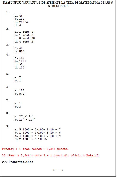 Raspunsuri varianta 2 de subiecte la teza matematica clasa 5 sem 1