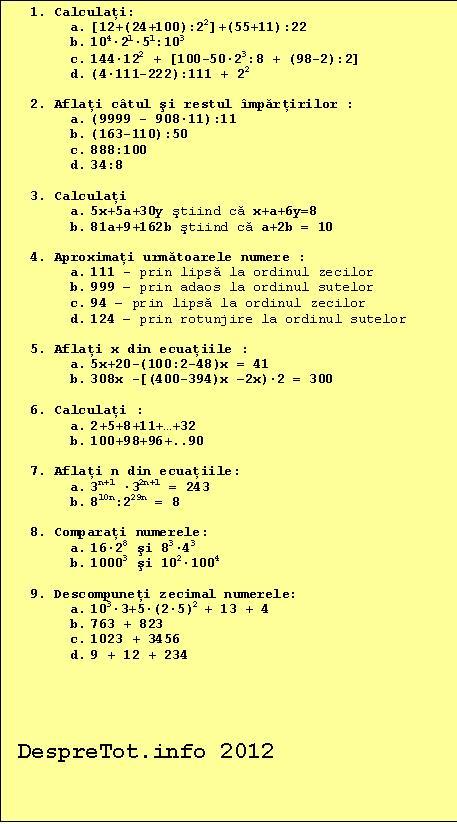 matematică clasa a V-a semestrul I – Varianta 2 | DespreTot.info