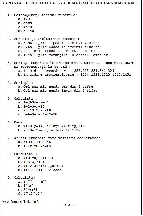 Varianta 1 de subiecte la teza matematica clasa 5 sem 1