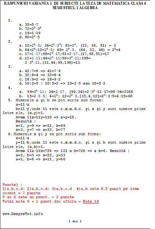 Raspunsuri varianta 1 de subiecte la teza matematica clasa 6 sem 1