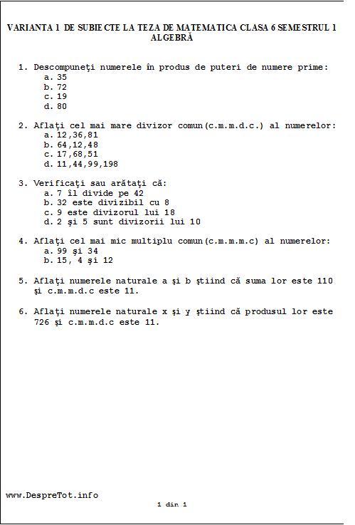 Varianta 1 de subiecte la teza matematica clasa 6 sem 1