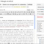 Interfata WEB pentru sistemul de management al continutului - CMS WordPress
