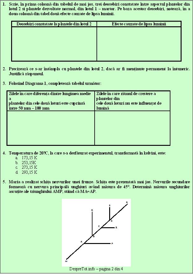 Teste Evaluare Nationala Matematica Si Stiinte   Teste PISA   Clasa 6