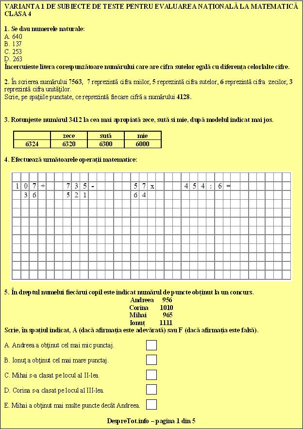 Teste Pisa Evaluare Nationala Matematica Clasa 4